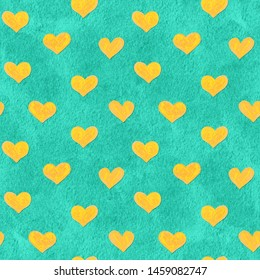 Paper cut cartoon hearts trendy craft style. Modern origami design in turquoise and yellow. Seamless background for greeting card, wrapping. Raster illustration. Hand-drawn doodle seamless pattern