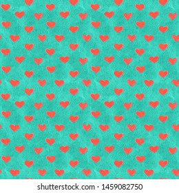 Paper cut cartoon hearts trendy craft style. Modern origami design in turquoise and red. Seamless background for greeting card, wrapping. Raster illustration. Hand-drawn doodle seamless pattern