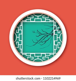 Paper cut Chinese traditional window. Origami round frame. Cherry branch tree.