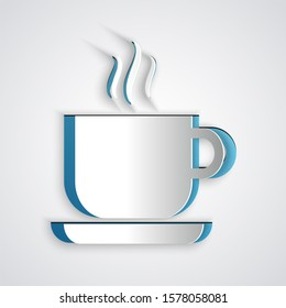 Paper cut Coffee cup icon isolated on grey background. Tea cup. Hot drink coffee. Paper art style.