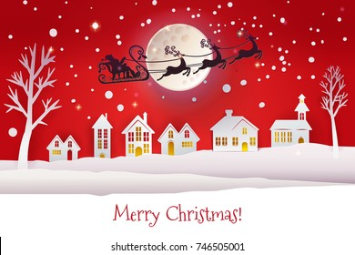 Paper cut and craft winter landscape with houses, moon and Santa Claus silhouette flying with deers. Holiday Web banner with typography greetings Merry Christmas. Red background. raster version