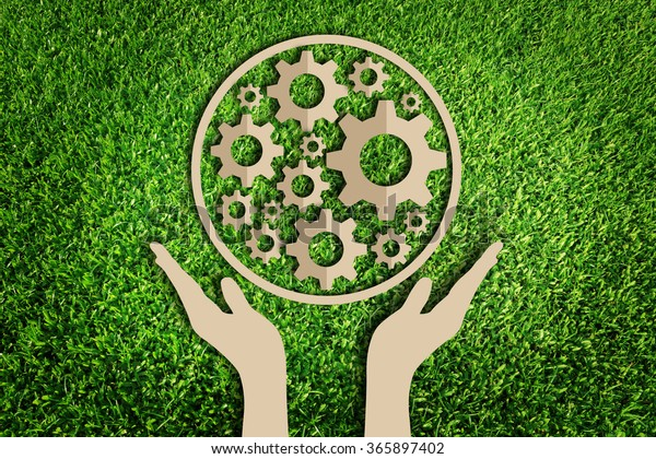 Paper Cut Eco On Green Grass Stock Image | Download Now