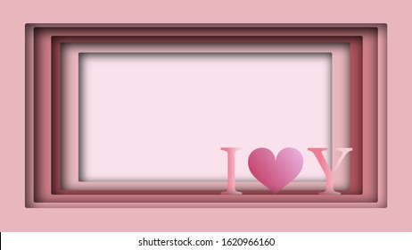Paper cut hearts in the background frame with space to put text