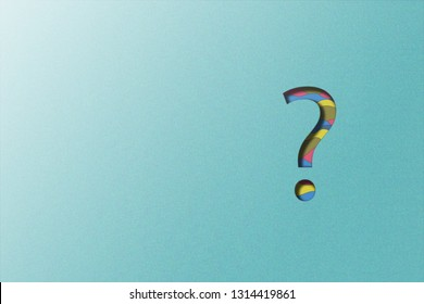 paper cut illustration of question mark on grainy effect blue background. concept of faq, q&a and questions