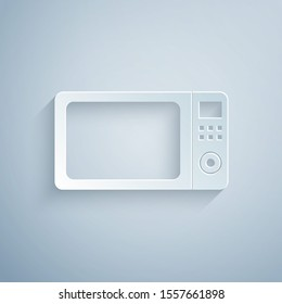Paper cut Microwave oven icon isolated on grey background. Home appliances icon.Paper art style