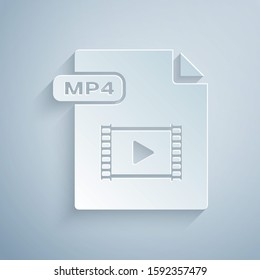 Paper cut MP4 file document. Download mp4 button icon isolated on grey background. MP4 file symbol. Paper art style.