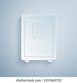 Paper cut Proof of stake icon isolated on grey background. Cryptocurrency economy and finance collection. Paper art style