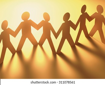 Paper cut in the shape of people together in a concept of a team. Clipping path included.