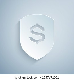 Paper cut Shield and dollar icon isolated on grey background. Security shield protection. Money security concept. Paper art style