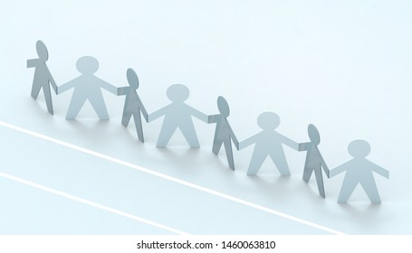 Paper cut Style concept of a leader and relationship with friendship and hand-holding of people in symbolic form on Inspiration style and modern Blue paste background - 3D rendering