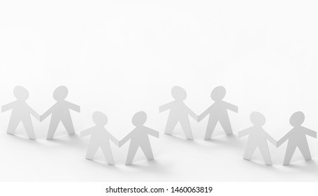 Paper cut Style concept of a leader and relationship with friendship and hand-holding of people in symbolic form on Inspiration style and modern isolated on white background - 3d rendering