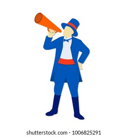 Paper cut style illustration of a ringmaster, ringleader, circus perfromer or master of ceremonies holding a bullhorn done in retro, decorative papercut design.