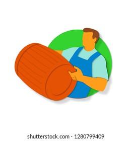 Paper cut style illustration of a winemaker, vintner or bartender holding wine barrel keg cask set inside circle done in retro, decorative papercut design.