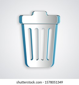 Paper cut Trash can icon isolated on grey background. Garbage bin sign. Paper art style.
