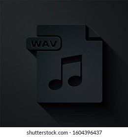 Paper cut WAV file document. Download wav button icon isolated on black background. WAV waveform audio file format for digital audio riff files. Paper art style.