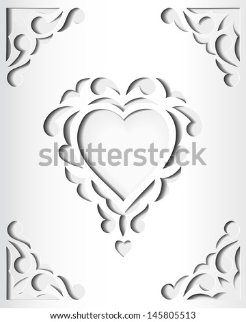 paper cutout card heart template frame stock illustration 145805513