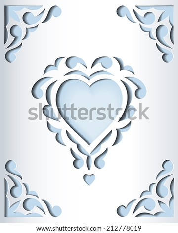 paper cutout card heart template frame stock illustration 212778019