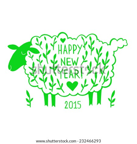 Paper cutting greeting card sheep silhouette stock illustration paper cutting greeting card with a sheep silhouette a symbol of 2015 chinese new year m4hsunfo