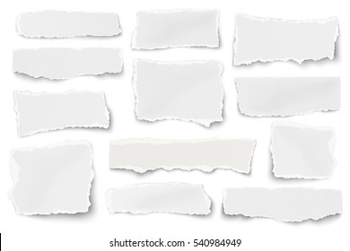 Paper different shapes scraps isolated on white