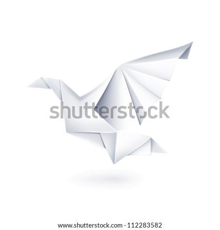 Paper Dove Origami Bitmap Copy Stock Illustration 112283582