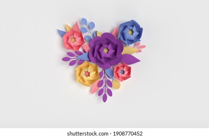 Paper elegant flowers on white background. Valentine's day, Easter, Mother's day, wedding greeting card. 3d render spring or summer flowers illustration in paper art style, heart shape
