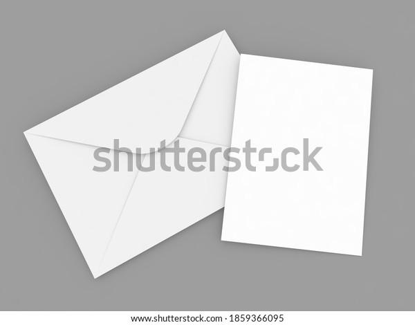 Paper envelope and A4 sheet on a gray background. 3d render illustration.