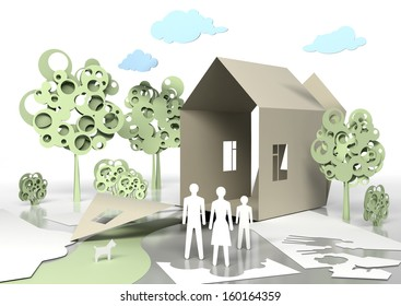 Paper Family and paper house. Conceptual 3d illustration.