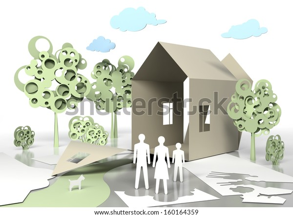 Paper Family Paper House Conceptual 3d Stock Illustration