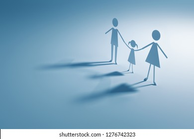 Paper family standing holding hands looking towards the light.3d rendering