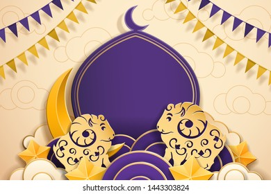 Paper flags and sheep for Eid al-Adha islamic festival or muslim holiday. Mosque and crescent with copy space. Greeting card for ul-Adha celebration at Haji. Islam and Druze religion
