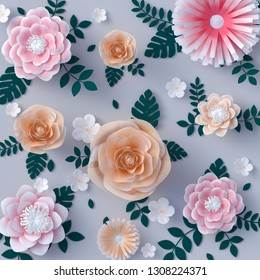 Paper floral background, artificial papercraft flowers pattern. 3d rendering