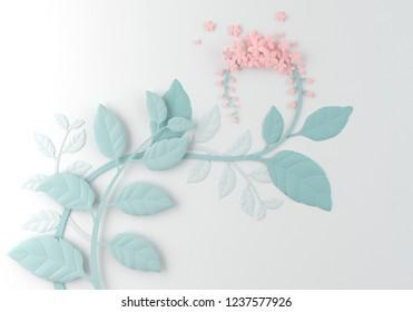 paper flower on white background, paper art design 3d rendeing.