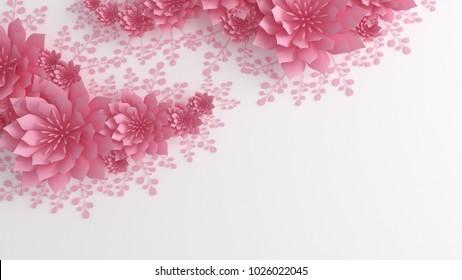 Paper flowers. 3d illustration, 3d rendering.