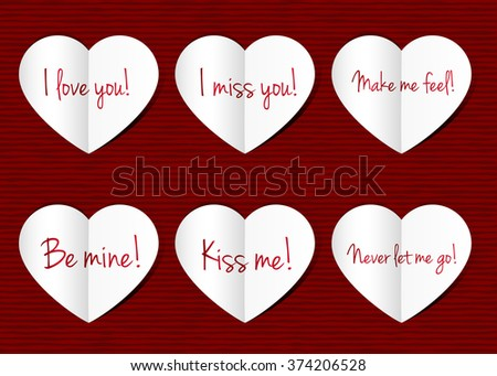 Paper Hearts Background Love You Miss Stock Illustration Royalty