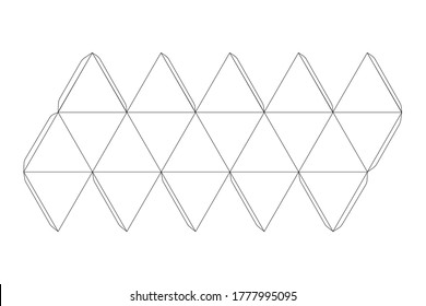 Paper icosahedron template, trim scheme isolated on white