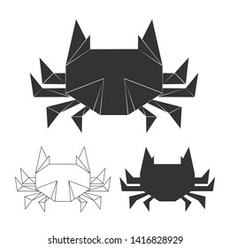 paper japanese crabs for logo, print, design. Crab silhouette isolated on white bakground illustration