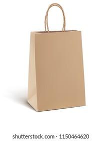 Paper kraft shopping bag isolated on white. 3d illustration