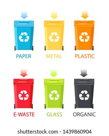 Paper metal organic glass and plastic waste e-waste types set containers with arrows pointing down colorful buckets titles raster illustration
