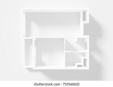 Paper Model Of Apartment 3d render