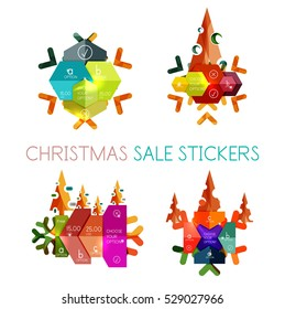 paper new year christmas labels stickers stock vector royalty free