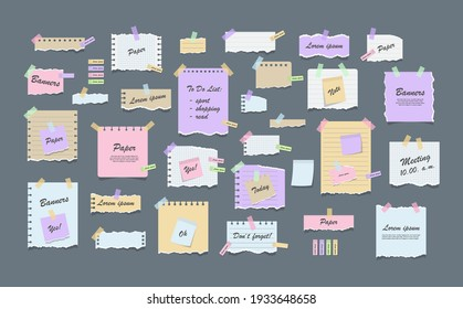 Paper notes on stickers. Torn sheets of notebook, multi colored sheets and pieces of torn paper. Sticky note paper posts of meeting reminder, to do list and office notice or information board notes.