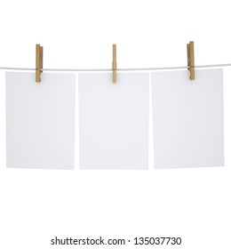 Paper on a rope with clothespins. Isolated render on a white background