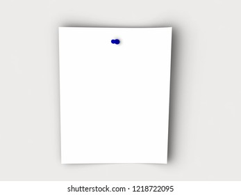 paper on white background with blue pin, 3D rendering, space for text