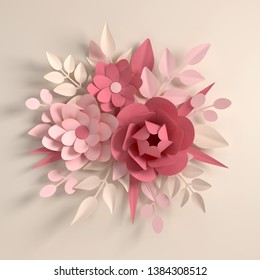 Paper pastel colored flowers on beige background. Valentine's day, Easter, Mother's day, wedding greeting card. 3d render digital spring or summer flowers  illustration in paper art style.