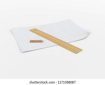 Paper, pencil and ruler. 3D model