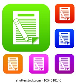 Paper and pencil set icon in different colors isolated illustration. Premium collection