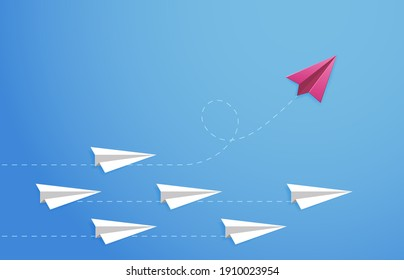 Paper plane concept. Changes direction, different opinion, new idea, leadership. Origami paper plane direction  illustration. Leadership airplane, competition individual, different independent