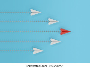 Paper plane in one direction on blue background. business concept for new ideas creativity. paper art style, 3d illustration.