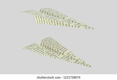 Paper plane printed. Words aeroplane. 3d illustration