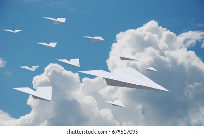 Paper Planes Flying in the Sky. 3D illustration
